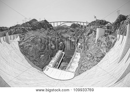 Monochromatic Fisheye Lens Picture Of The Hoover Dam, Usa