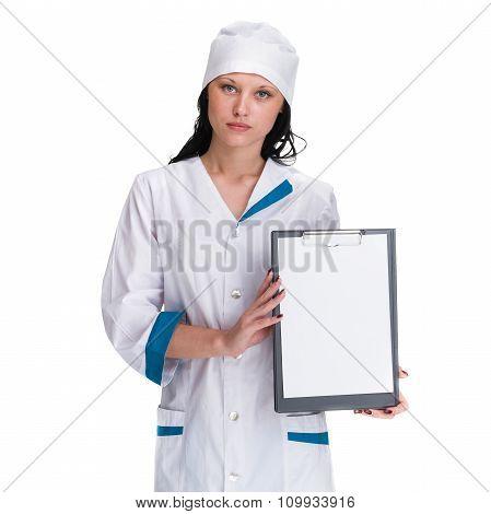 Woman doctor or nurse showing empty blank