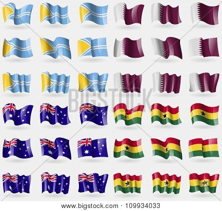 Tuva, Qatar, Australia, Ghana. Set Of 36 Flags Of The Countries Of The World.
