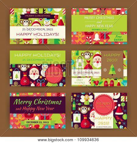 Merry Christmas Vector Invitation Template Flat Set