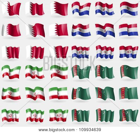 Bahrain, Paraguay, Iran, Turkmenistan. Set Of 36 Flags Of The Countries Of The World.