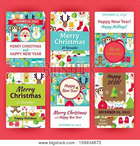 Merry Christmas Vector Template Invitation Set In Modern Flat Style