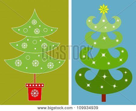 Christmas Tree Vectors, Green Tree Illustraions