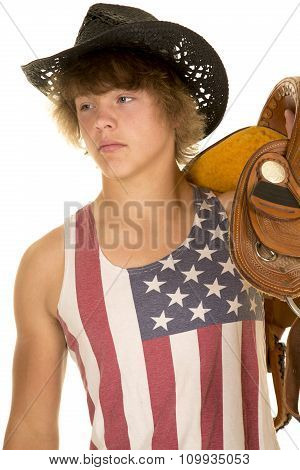 Young Cowboy In Striped Shirt On Shoulder Look To Side