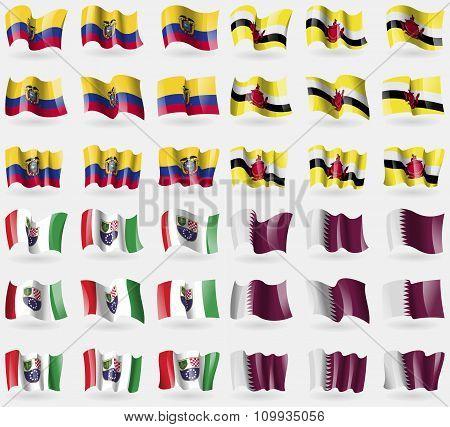 Ecuador, Brunei, Bosnia And Herzegovina Federation, Qatar. Set Of 36 Flags Of The Countries