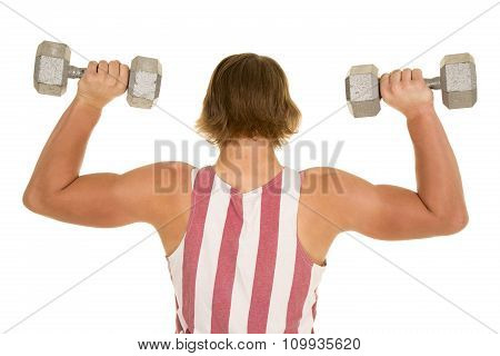 Young Man In Flag Shirt Weights Up Flexing Back