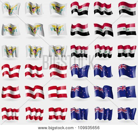 Virginislandsus, Syria, Austria, New Zeland. Set Of 36 Flags Of The Countries Of