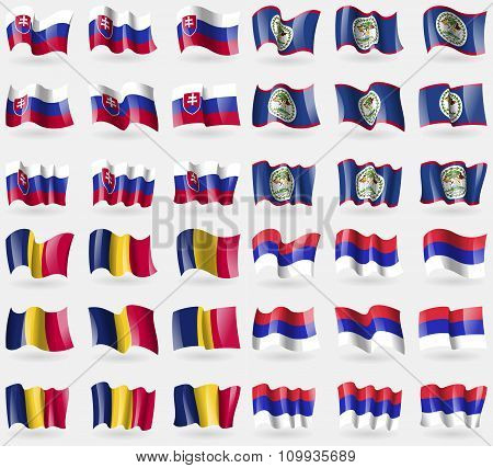 Slovakia, Belize, Chad, Republika Srpska. Set Of 36 Flags Of The Countries Of