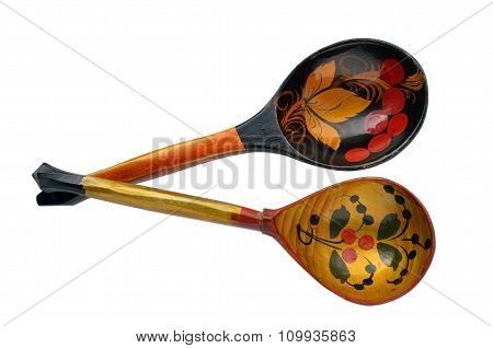 Russian wooden painted spoons isolated on white
