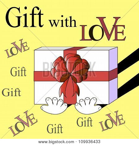 Inscriptions Vector surprise gift with love. Gift box with bow holding. Elements are layered separat
