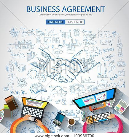 Business Agreement concept wih Doodle design style :finding solution, brainstorming, creative thinking. Modern style illustration for web banners, brochure and flyers.