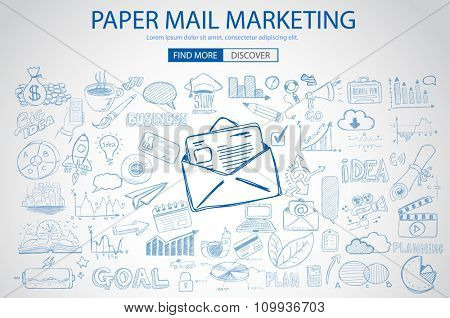 Paper email Marketing with Doodle design style :sending real mails, promotions, creative designs. Modern style illustration for web banners, brochure and flyers.