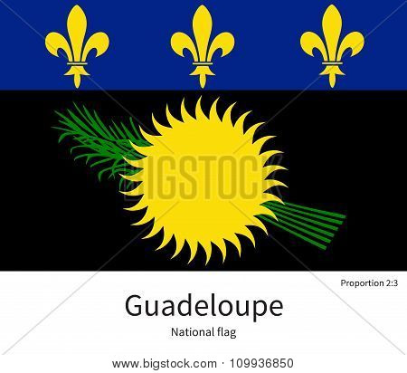 National flag of Guadeloupe with correct proportions, element, colors