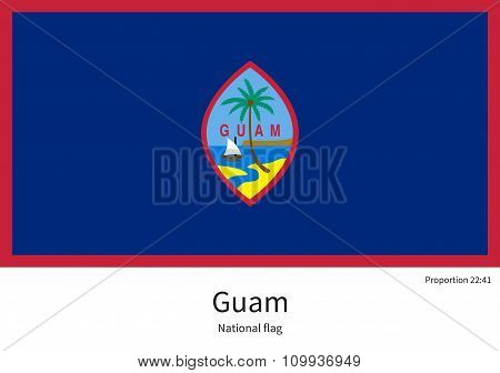 National flag of Guam with correct proportions, element, colors
