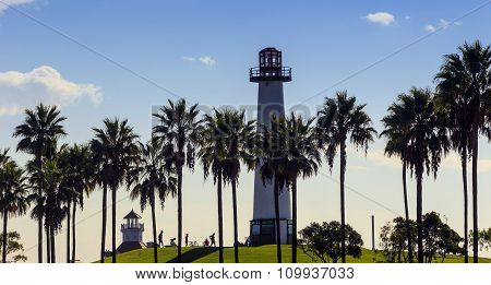 Lighthouse With Palms At Long Beach, California