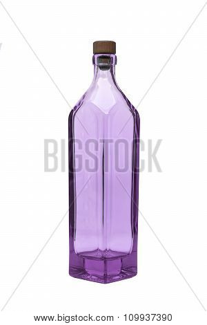 an Empty purple glass bottle on isolated background