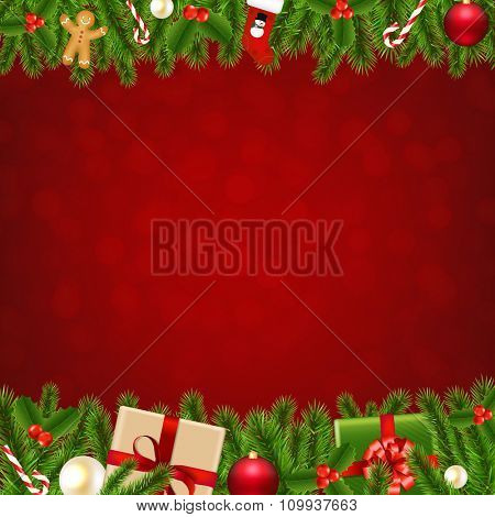 Xmas Christmas Borders With Gradient Mesh, Vector Illustration