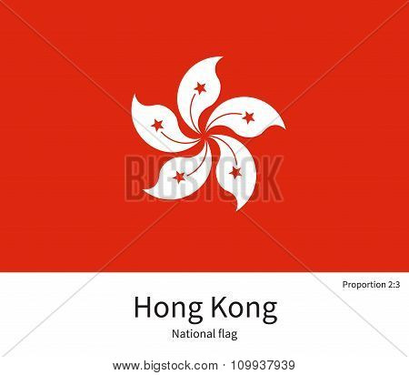 National flag of Hong Kong with correct proportions, element, colors