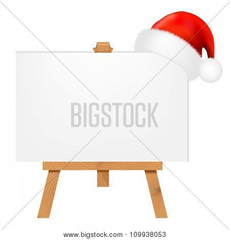 Banner With Santa Claus Cap With Gradient Mesh, Vector Illustration