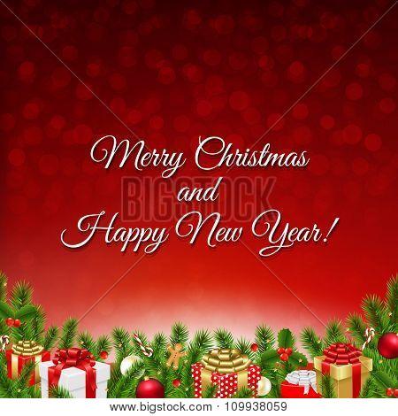 Christmas Petro Postcard With Gradient Mesh, Vector Illustration