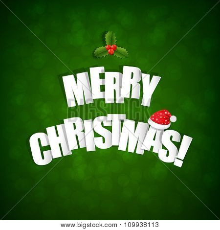 Happy Merry Christmas Postcard With Gradient Mesh, Vector Illustration