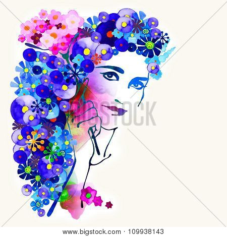 Watercolor decorative background with woman face.