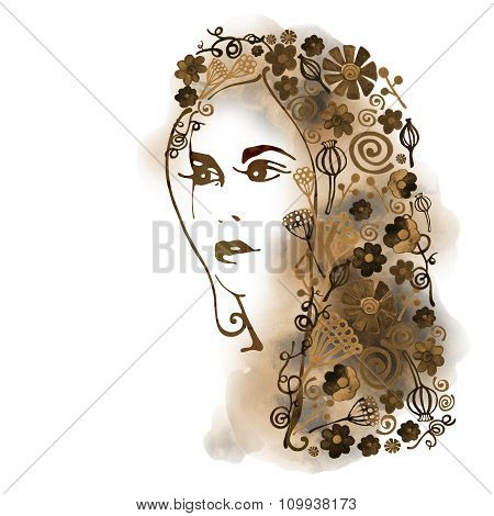 Watercolor Decorative background with woman face 3