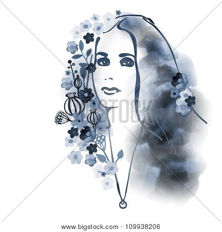 Watercolor Decorative background with woman face 5