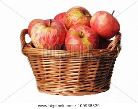 basket with apples on a white background