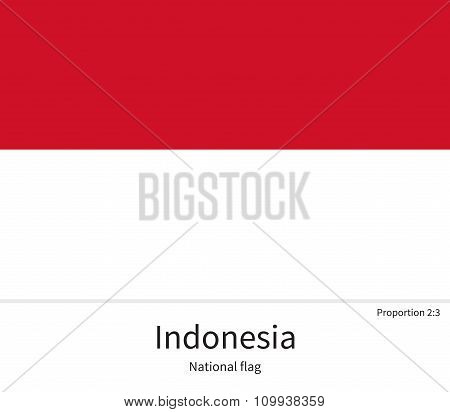 National flag of Indonesia with correct proportions, element, colors