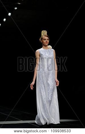 ST. PETERSBURG, RUSSIA - OCTOBER 27, 2015: Collection of SOLDATOVA NATALIA Fashion House at the fashion show during Mercedes-Benz Fashion Day St. Petersburg, one of city's most popular fashion events