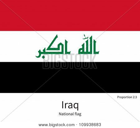 National flag of Iraq with correct proportions, element, colors