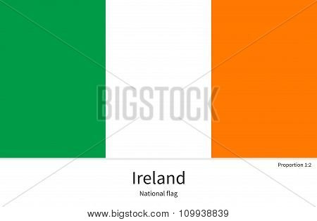 National flag of Ireland with correct proportions, element, colors