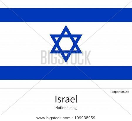 National flag of Israel with correct proportions, element, colors