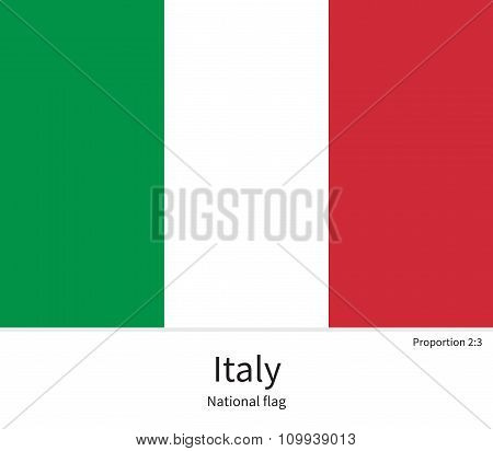 National flag of Italy with correct proportions, element, colors