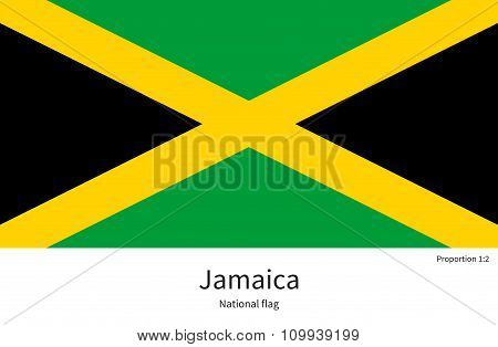 National flag of Jamaica with correct proportions, element, colors