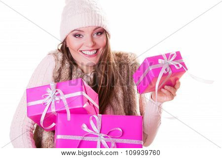 Pretty Fashion Woman With Boxes Gifts. Christmas.
