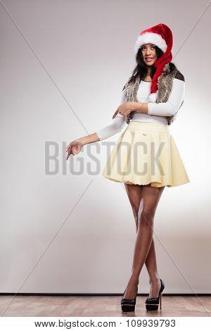 Fashion Woman In Santa Helper Hat