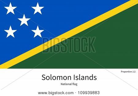 National flag of Solomon Islands with correct proportions, element, colors