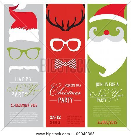 Christmas and New Year Retro Party Cards - Photo booth Style - in vector