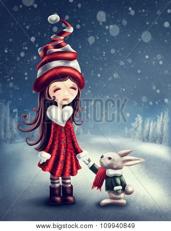 Illustration with little winter fairy girl with a hare