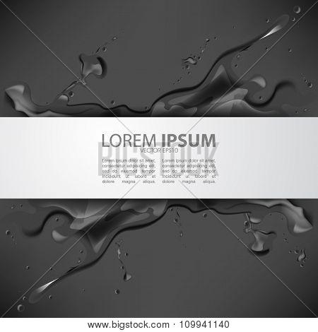 eps10 vector dark black ink paint splash, rectangle frame, leaflet brochure business background design