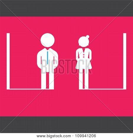 Male And Female Restroom Symbol Icon.