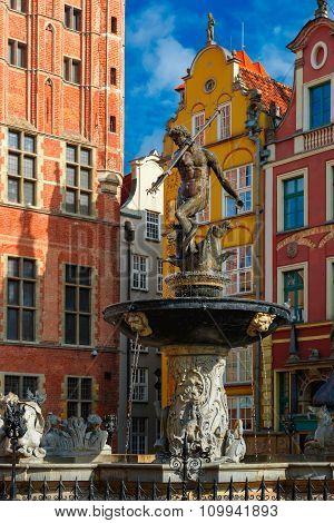 Fountain of Neptune on Long Market Street, Gdansk