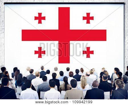 Georgia National Flag Government Freedom Seminar Concept