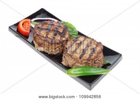 two extra thick hot beef meat hamburger lunch isolated on white background