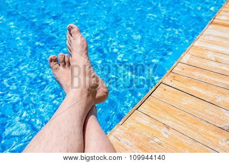 My feet on pool