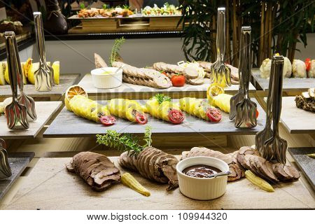 Buffet line in the hotel restaurant