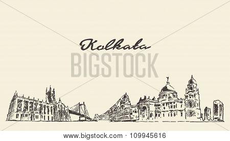 Kolkata skyline vector vintage illustration drawn