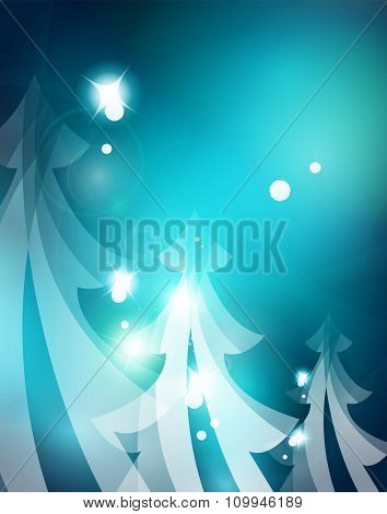 Holiday blue abstract background, winter snowflakes, Christmas and New Year design template, light shiny modern vector illustration